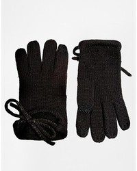 Gloves with bow and touch screen detail black medium 120305