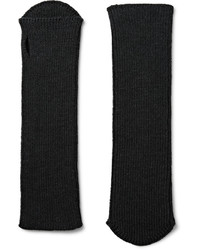Dries Van Noten Ribbed Wool Fingerless Gloves