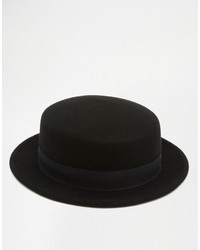 Asos Brand Flat Top Hat With Narrow Brim