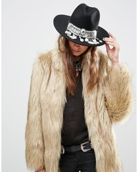 Asos Collection Stone And Coin Front Felt Fedora Hat