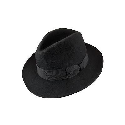 79254817588 Crushable Pinch Crown Fedora Black. Black Wool Hat by Jaxon Hats