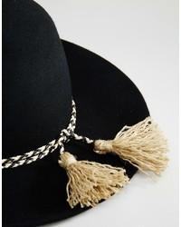 ... Brixton Wide Brim Felt Hat With Tassle Band In Black ... fbc1ba270ee9