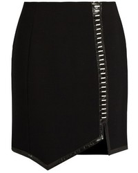 Thierry Mugler Mugler Leather Trimmed Wool Mini Skirt