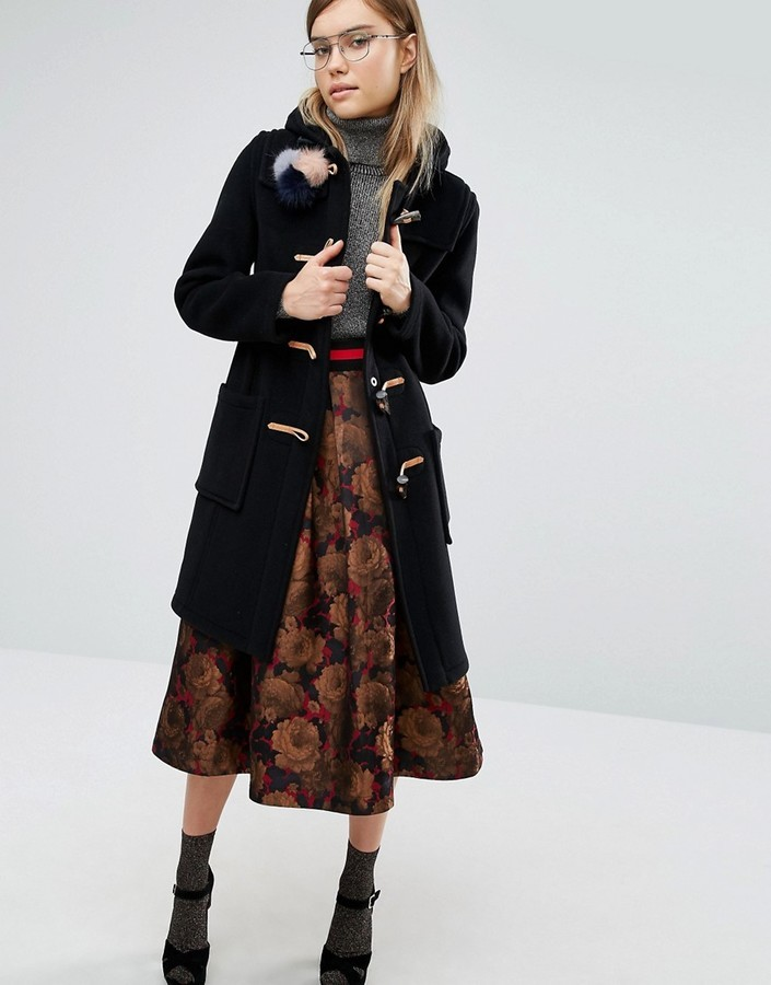 Gloverall Slim Fit Duffle Coat In Long Line With Plaid Lining ...