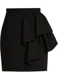 Saint Laurent Asymmetric Ruffled Wool Sabl Skirt