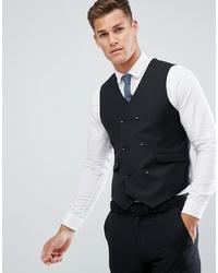 ASOS DESIGN Slim Suit Waistcoat In Black 100% Wool