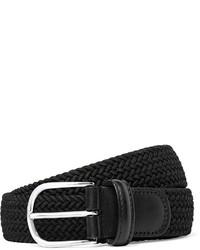 Andersons 35cm Black Leather Trimmed Woven Elastic Belt