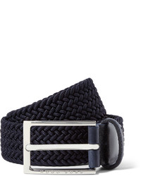 Hugo Boss 35cm Blue Leather Trimmed Woven Elasticated Belt