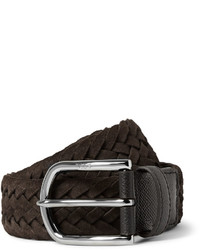 Tod's 35cm Brown Woven Suede And Cross Grain Leather Belt