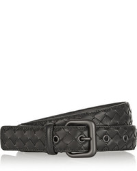 Bottega Veneta Intrecciato Leather Belt Black