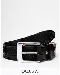 Reclaimed Vintage Woven Black Leather Belt