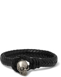 Alexander McQueen Woven Leather And Metal Skull Bracelet