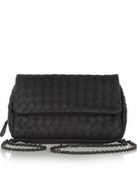 Messenger mini intrecciato leather shoulder bag black medium 204754