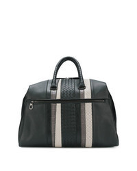 Black Woven Leather Holdall