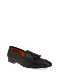 Black Woven Leather Tassel Loafers
