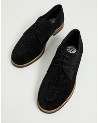 H By Hudson Chatra Woven Lace Up Shoes In Black Suede