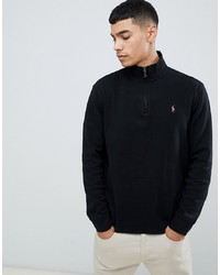 Polo Ralph Lauren Half Zip Cotton Knit Jumper With Multi Player Logo In Black