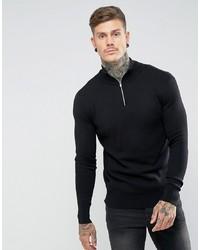 ASOS DESIGN Midweight Half Zip Jumper In Black