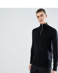 ASOS DESIGN Tall Midweight Half Zip Jumper In Black