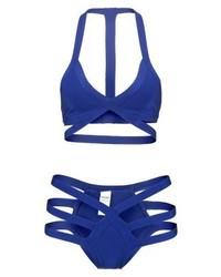 Missguided Strappy Bandage Bikini Cobalt