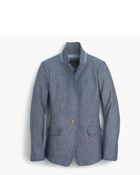 J.Crew Chambray Regent Blazer With Ruffle Trim
