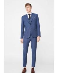 Mango Suit Jacket China Blue