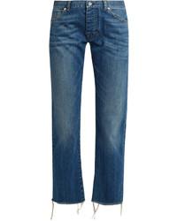 Nili Lotan Boyfriend Mid Rise Slim Leg Cropped Jeans