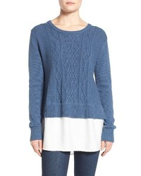 Two By Vince Camuto Layer Look Cable Knit Sweater