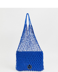 Hill & Friends Hill And Friends Happy String Shopper With Leather Pouch In Blue