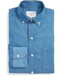 Ledbury westerham slim fit chambray dress shirt medium 372135