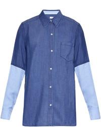 Vince Colour Block Point Collar Chambray Shirt