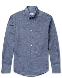 Button Down Collar Brushed Cotton Chambray Shirt
