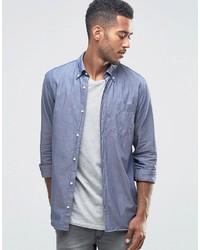 Jack and Jones Jack Jones Premium Chambray Blue Denim Look Shirt