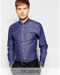 Number Eight Savile Row Chambray Shirt With Button Down Collar In Skinny Fit