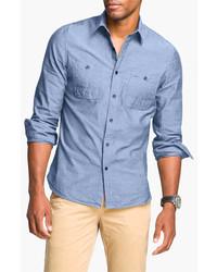 Wallin & Bros. Workwear Trim Fit Chambray Sport Shirt Light Blue Small