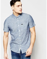 Lee Regular Fit Shirt Button Down Short Sve Chambray In Navy