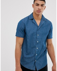 Solid Slim Fit Shirt Revere Collar Chambray
