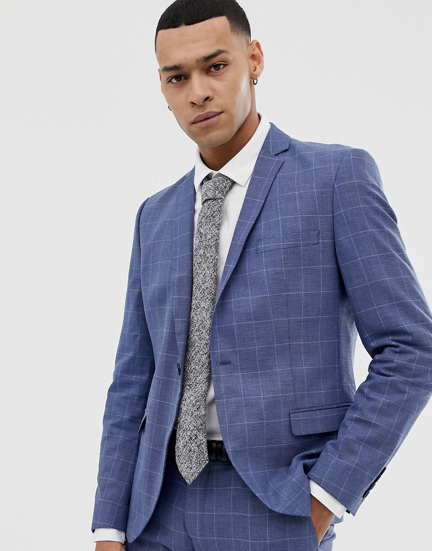 03e80f71f8 Selected Homme Skinny Fit Suit Jacket In Navy Grid Check, £130 ...