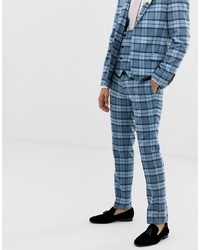 Twisted Tailor Super Skinny Suit Trousers In Blue Check