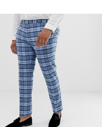 Twisted Tailor Super Skinny Suit Trousers In Light Blue Check