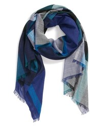 Burberry Mega Check Wool Silk Gauze Scarf