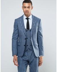 Slim suit jacket in 100 wool blue check medium 3717697