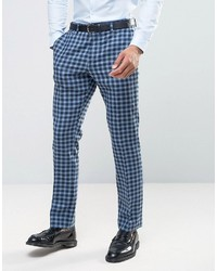 Asos Slim Suit Pant In 100% Wool Blue Check