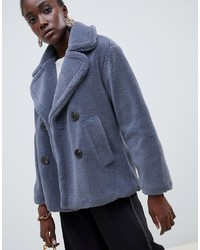 Warehouse Double Breasted Teddy Coat In Blue