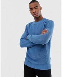 Bershka Knitted Jumper In Light Blue