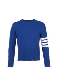 Thom Browne Short Crewneck Pullover With 4 Bar Stripe In Blue Cashmere