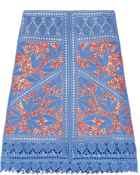 Tory Burch Whitney Crocheted Lace Skirt Blue