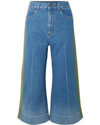 Gucci Cropped High Rise Wide Leg Jeans