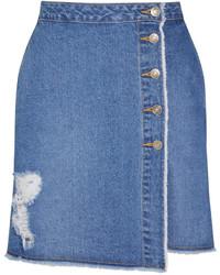 SteveJ & YoniP Steve J Yoni P Distressed Denim Mini Skirt