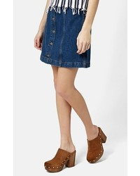 Blue Denim Button Skirt